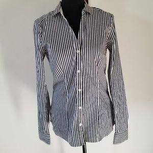 H&M black & white striped button down  size 10